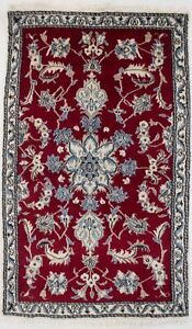 Hand Knotted Red Small 3X5 Classic Floral Design Oriental Rug Foyer Decor Carpet