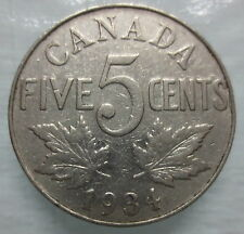 1934 CANADA 5¢ KING GEORGE V NICKEL COIN