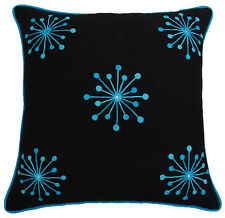 Floral Embroidered Cotton Pillow Cover Black Square Cushion Case Designer Throw