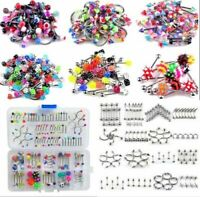 105Pcs Body Jewelry Piercing Eyebrow Navel Belly Tongue Lip Bar Ring Bulk Lots