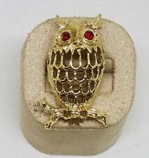 Vintage Estate Gerry's Gold Tone Rhinestone Eye Owl Brooch Pin Jewelry