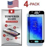 4-Pack Full Coverage Tempered Glass Curved Edge For Samsung Galaxy J3 Orbit