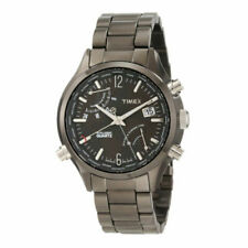 New Timex T2N946 Men Intelligent World Time Black Dial Stainless Steel Watch