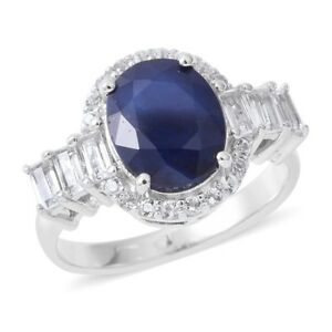 Madagascar Blue Sapphire, White Topaz, Platinum Over Sterling Silver.   (Size 6)