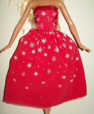 Genuine Barbie Dress Gown Red Snowflake  for Barbie & Friends  Doll Clothing