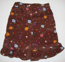 Hanna Andersson Brown Floral Velour Ruffle Skirt 140 9 10 11