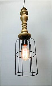 Industrial Big Cage Pendant Trouble Light Wooden Handle On Sale