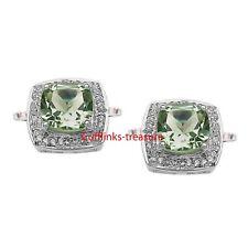 Natural Green Amethyst & CZ Gemstones 925 Sterling Silver  Cufflinks For Men's