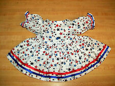 "DRESS 4TH JULY PATRIOTIC WHITE w/ RED+BLUE STARS+TRIM for 16"" CPK Cabbage Patch"