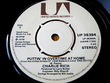 """CHARLIE RICH - PUTTIN' IN OVERTIME AT HOME  7"""" VINYL"""