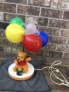 Vintage 1980 Disney Winnie the Pooh Colored Balloons Nursery Night Light Lamp