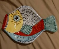 "VIETRI Italy HAND PAINTED Pottery Decor Fish Plate 10"" VINTAGE Collectable RARE!"
