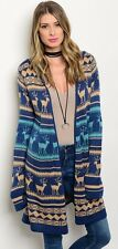 Pink Owl Hooded Reindeer Cardigan Sweater Extra Long Knit Wrap Christmas C12700