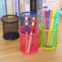 Round/Square Iron Mesh Pen Holder Office Desktop Pencil Stationery Box Newly