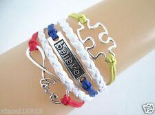 Infinity Love/Believe/Puzzle Autism Sign Leather Bracelet- Rainbow