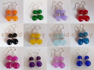 Lovely 8-10mm Multiple Round Gemstone Beaded Dangle Silver Hook Earrings