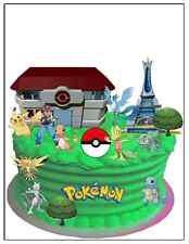 Prima de Pokemon Tarjeta De Oblea Comestible Cumpleaños Decoración de Pasteles escena (sin cortes)