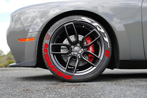 "Tire Lettering DODGE SRT DEMON PERMANENT Stickers Wheel 14""-24"" Decal Set 1.25"""