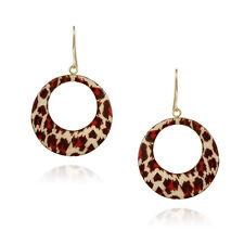 Gold Tone Enamel Animal Print Circle Dangle Earrings