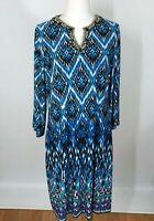 Chicos Size 2 Dress Beaded Jeweled Neckline Womens Large 3/4 Sleeves