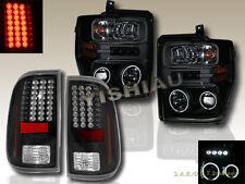08-10 FORD F250 F350 F450 Black CCFL Halo Projector Headlights LED & Tail Lights