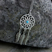 Vintage dream catcher style antique silver sunflower & leaf chandelier necklace