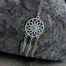 Vintage dream catcher style antique silver sunflower & leaf chandelier necklace