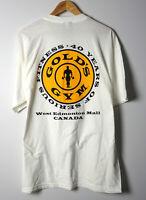 Golds Gym Sz XL T-Shirt West Edmonton Mall WEM White Tee Vtg Retro Bodybuilding
