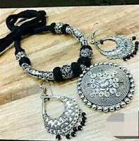 Indian Ethnic Black silver oxidized Ganesh necklace Jewelry set