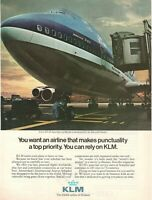 1981 Original Advertising' American Klm Holland Royal Dutch Airlines Boeing 747