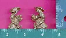 4 wholesale lead free pewter frog on pig figurines E5055