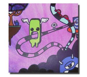 Odd World - Surreal Original Graffiti Canvas. Cute, Weird, Dimension, Pop Art