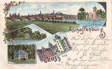AK Aschaffenburg Unterfranken Litho Mehrfachbild gel 1902 Bayern