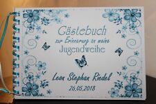 Gästebuch zur Jugendweihe , türkis - blau