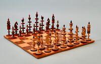Antique German Lime Wood 'Toy' Chess Set, Erzgebirge Region circa 1875