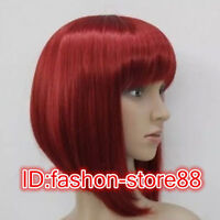 Sexy Fashion ladies short dark red straight Women's Fancy Dress Cosplay wig