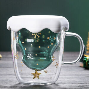 NE_ TH_ DI- FT- Snowflake Clear Glass Coffee Cup Whiskey Beer Double Layer Mug D