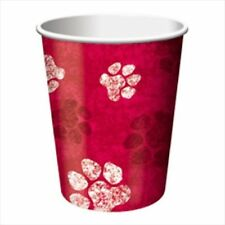 PUPPY PARTY Red 9oz PAPER CUPS (8) ~ Birthday Supplies Beverage Drinking Dogs