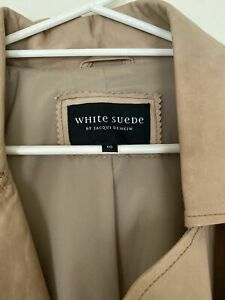 White Suede Leather Jacket - Size 10