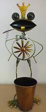 BRIGHT COLOURED METAL FROG TOAD PLANTER WINDMILL OUTDOOR GARDEN ORNAMENT