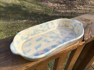 """Vintage BB Bybee Kentucky Blue spongeware  Oblong 13.5"""" CASSEROLE #138"""