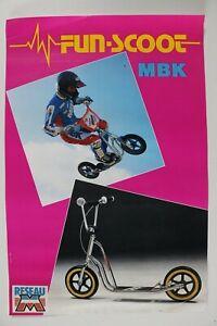 AFFICHE CYCLES MOTOBECANE MBK FUN SCOOT TROTINETTE novembre 1986 BICROSS pink