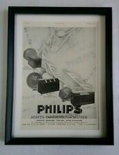 Anuncio de Altavoz de Radio Phillips Art Deco 1930 Original Enmarcado Excelente Estado