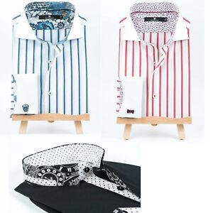 Men's Formal Shirt Italian Dress Designer Luxury Stripe Paisley Print Shirts