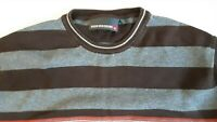 Mens Duck And Cover Sweatshirt Jumper Navy Size XL Brown and grey stripes