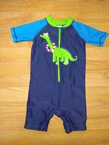 Hanna Andersson Rash Guard Swim Suit Size 90 3T Navy Blue Dino Dinosaur