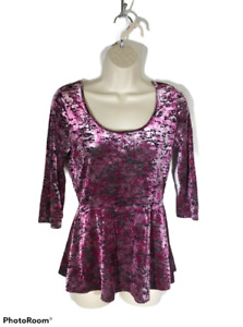 Decree Women's Medium Sheer Pink & Black Animal Print Long Sleeve Top
