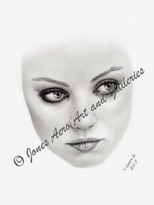 "Mila Kunis ""face"" Portrait Giclee & Iris Pencil Art Print by artist Willie Jones"