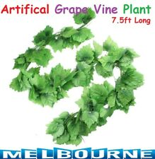 7.5ft 2.3m 20 Leaves Artificial Fake Grape Vine Plant Green Rattan Home Decorati