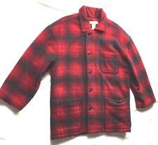 Womens M Red Plaid Banana Republic Lumberjack Wool Jacket Coat Barn Outdoor